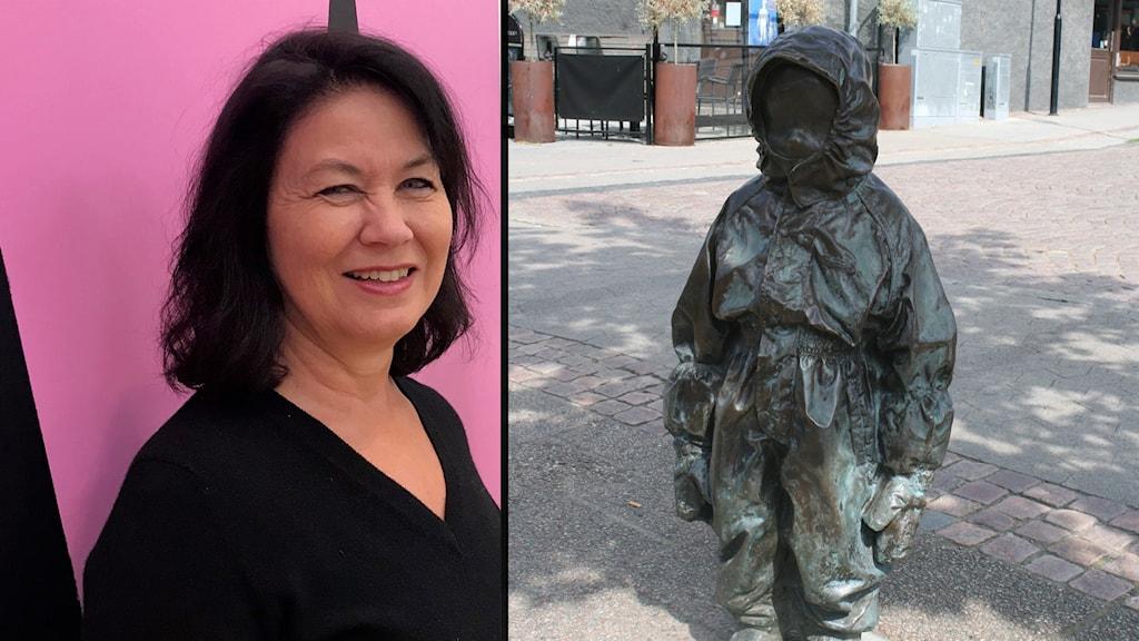 En leende kvinna. Skulpturen Ute vid Södra torget i Borås.