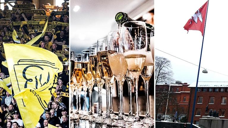 Collage med Elfsborgsläktare, champagneglas och Borås stads flagga.