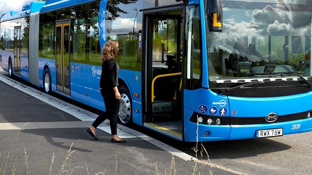 En blå buss står utomhus på en väg under en solig sommardag.