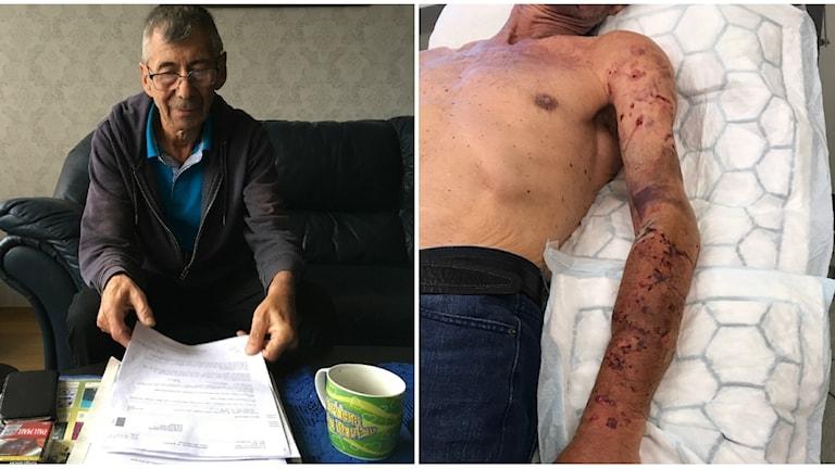 Sven-Åke Niklasson skadades allvarligt i sin vänsterarm efter en lösspringande hund attackerade honom i somras.