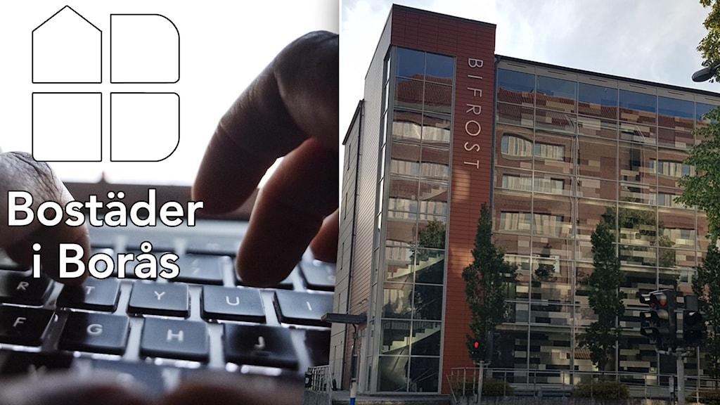 Ett gäng fingrar på ett tangentbord. Till höger ett lägenhetshus.