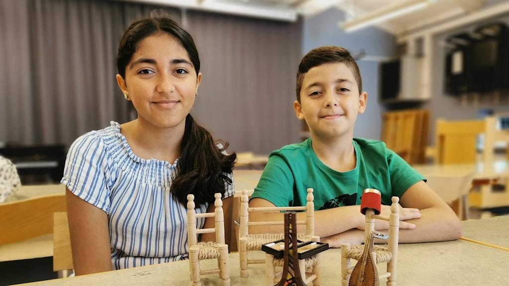 Layan Hamdan, 12 år och Haitham Hmadan, 10 år från Vårgårda.