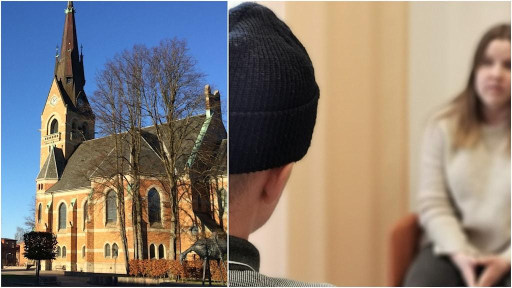 Till vänster ser vi Gustav Adolfs kyrka och till vänster ser vi två personer som pratar.