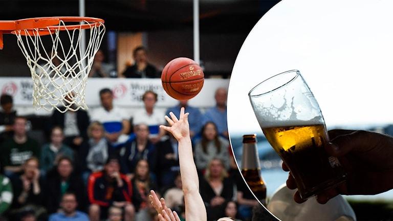delad bild: basketmatch och ölglas