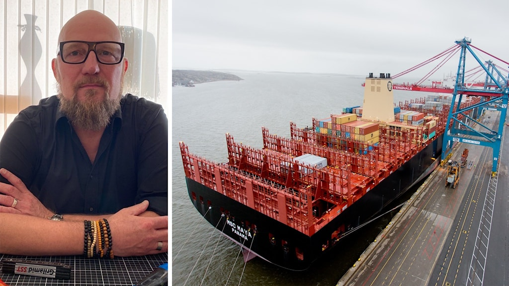 Man i svart tröja vid bord och bild på fraktfartyg