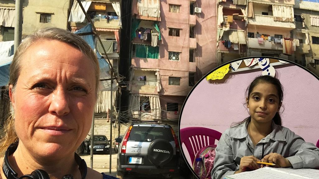 Anna Carlsson på plats i Libanon. Amina Al Laham inklippt.