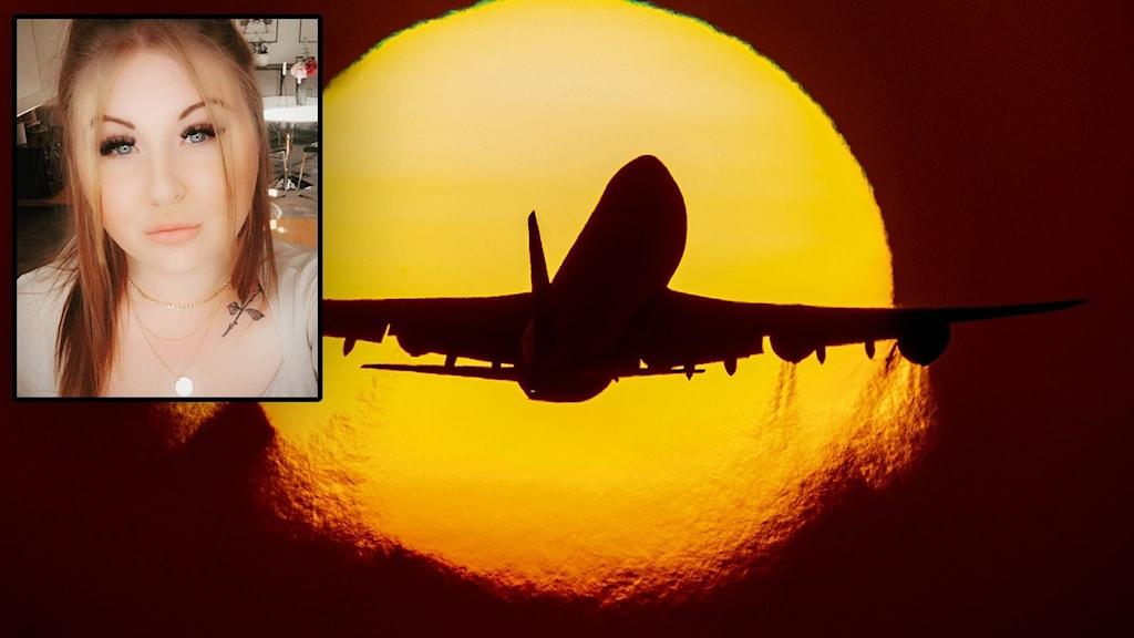 En kvinna i vänstra hörnet. I Bakgrunden ett flygplan som lyfter i solnedgången