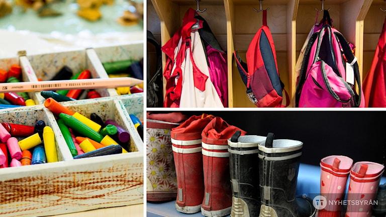Kritor, ryggsäckar och gummistövlar - en vanlig syn på förskolan.