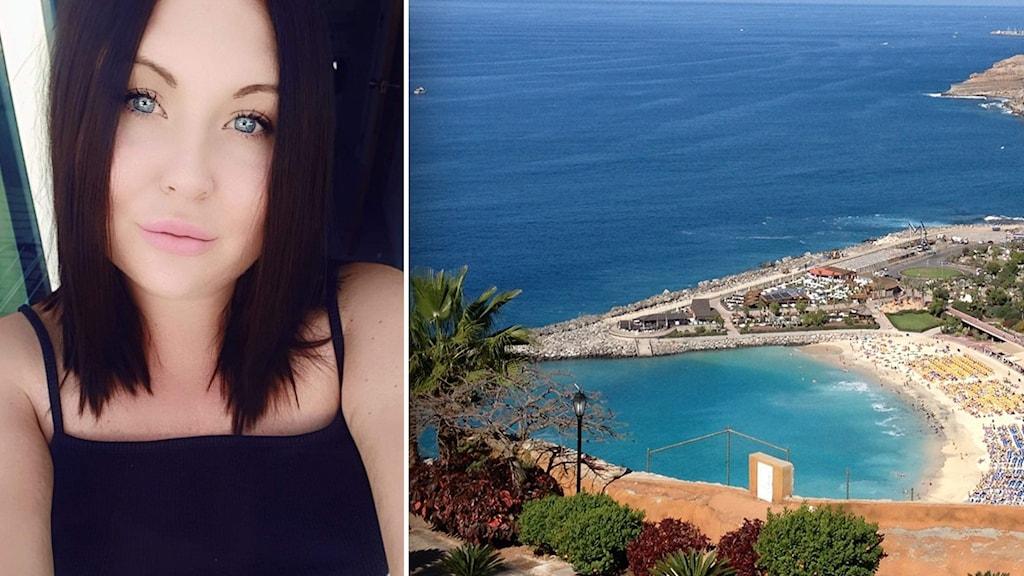 En kvinna med med mörkt hår. Till höger en  strand.