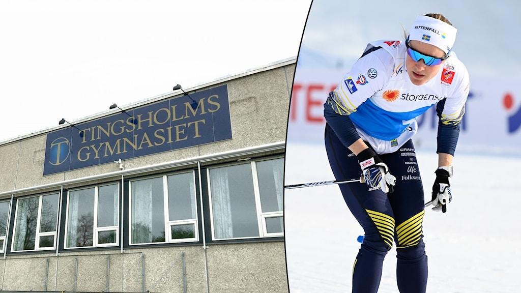 Fasad Tingsholmsgymnasiet i Ulricehamn och Hanna Falk på skidor.