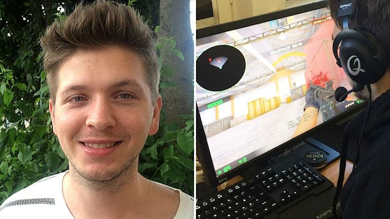 Ivan Lapanje och en kille som spelar dataspelet Counter strike.