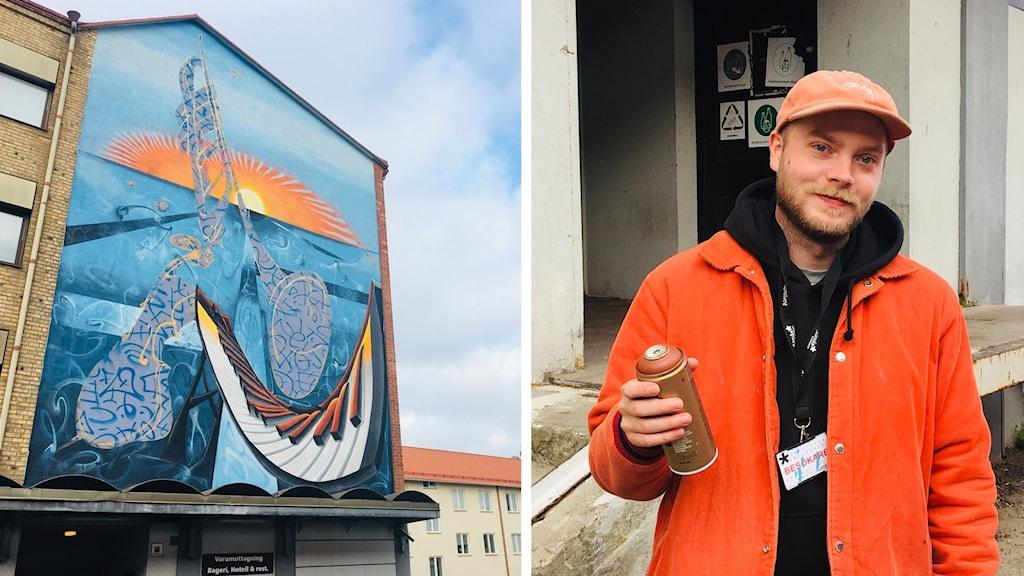 Graffitikonstnären Adam Algotsson och hans mural till No Limit 2020.
