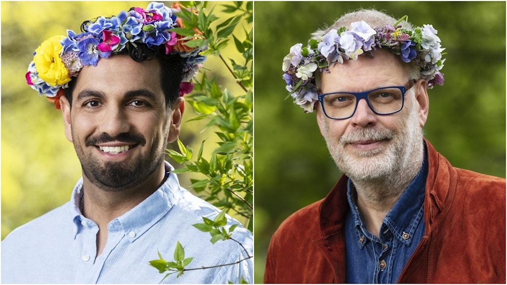 Två män med blomsterkransar på huvudet.