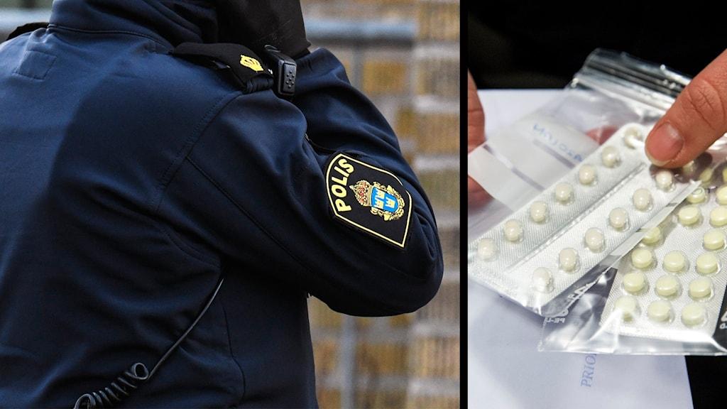 Polis och beslagtagen narkotika