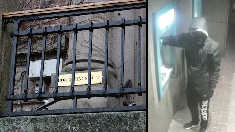 Kombibild: Genom ett svart stålstaket syns en skylt där det står Borås tingsrätt. På den andra bilden syns en maskerad rånare vid en bankomat.