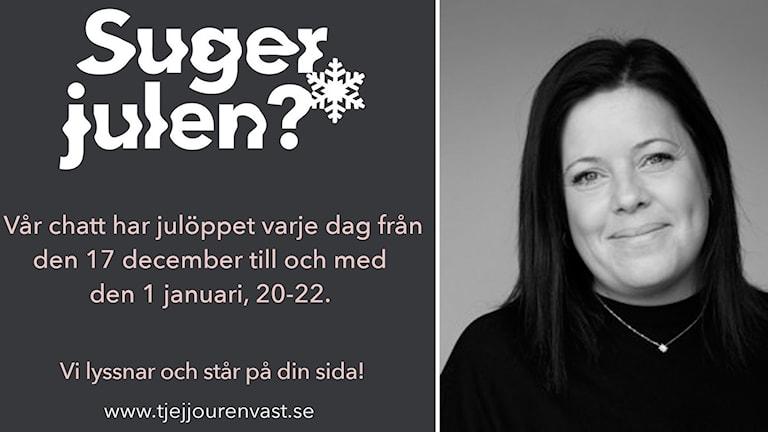 """Text """"Suger julen"""". Bild på kvinna i svartvitt."""