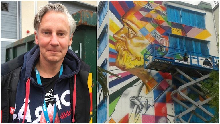 Anders Kihl och ett konstverk.