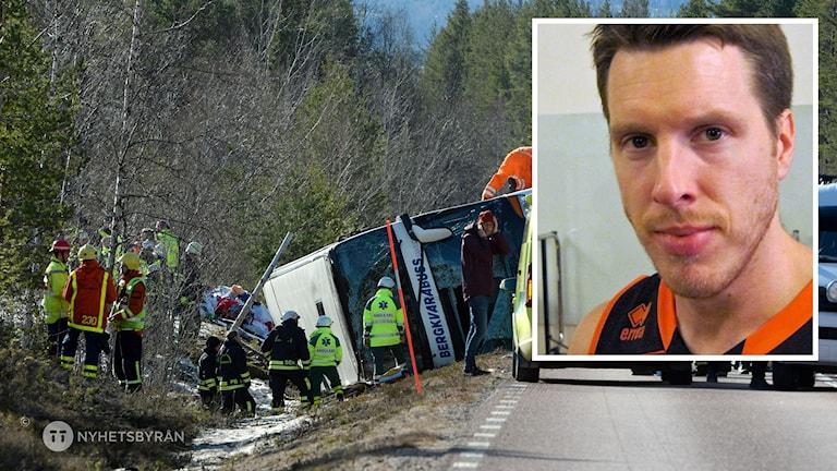 Bussolyckan i Sveg och Borås Baskets coach Henrik Carlsson.