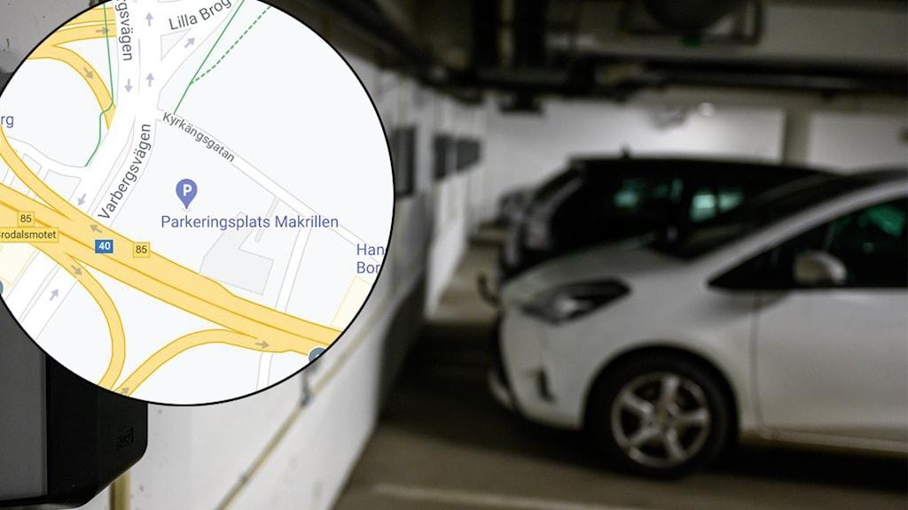 En karta och en bild inifrån ett parkeringshus.