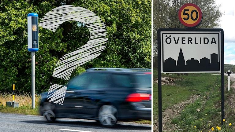 En bil kör mot en fartkamera i sommarlandskap och en 50-skylt i Överlida.