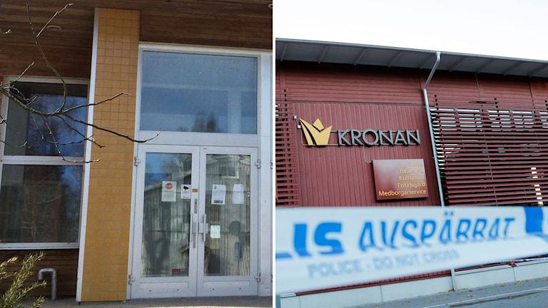 Tvådelad bild föreställande dörren till en skola samt skolan Kronan i Trollhättan.