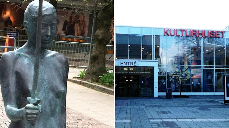 Skulpturen Herculine av Linnea Carlsson och Kulturhusets fasad.