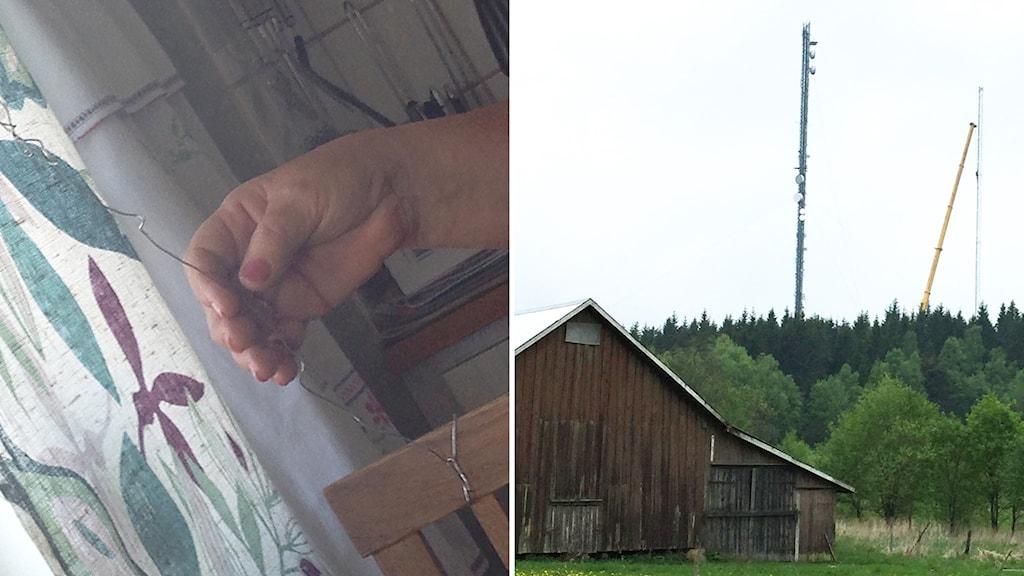 Ros-Mari Johansson Töllsjö fixar radiolyssning med hjälp av ståltråd