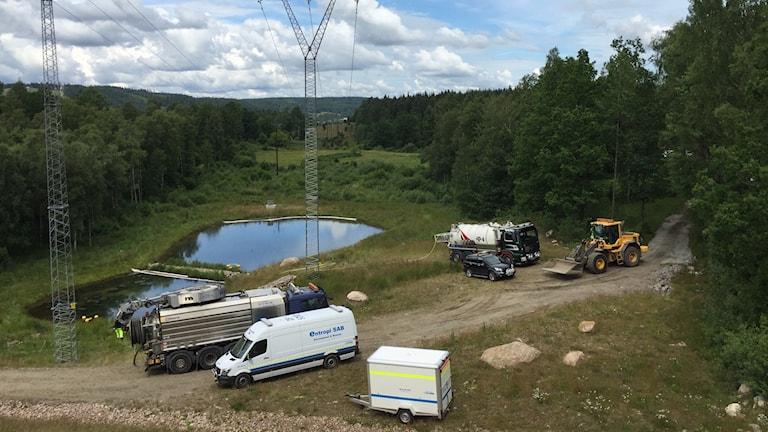 Sanneringsarbete vid R40. Foto: Anton Svensson/SR