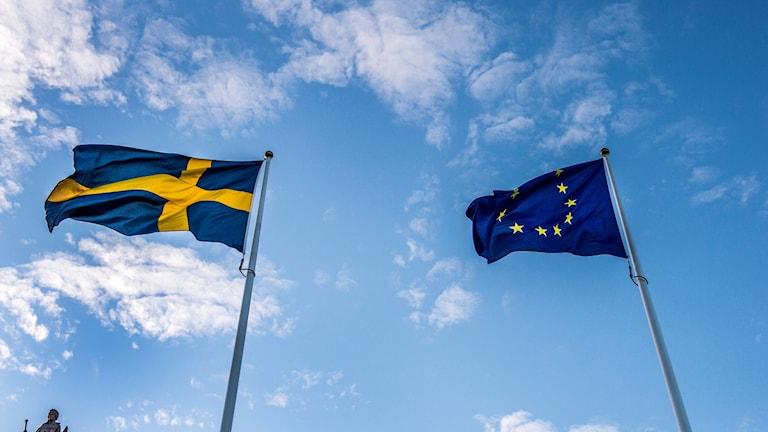 Två flaggor svajar i vinden mot en ljusblå himmel. Till vänster svenska flaggan och till höger EU:s flagga.