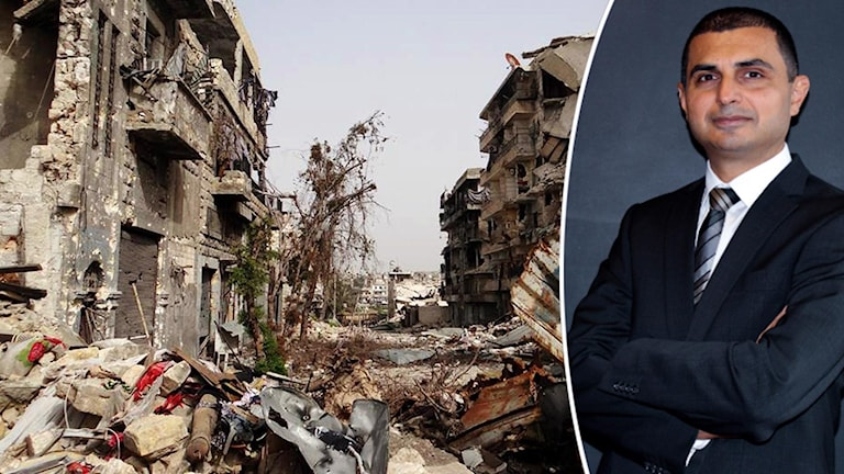Bild på ruiner i Aleppo och inklippt bild på man i kostym.