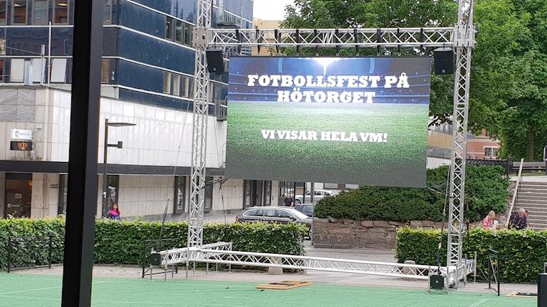 skärm där Fotbolls-VM ska visas
