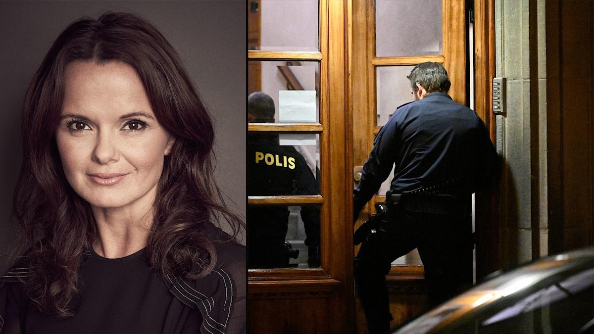 Silvia i mörkt hår och mörk tröja, bild från polis går in i portuppgång
