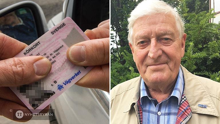 Bild på ett körkort och till höger en äldre man med vitt hår som ler mot kameran.