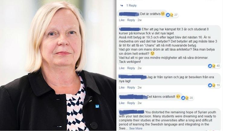 Mycket kritik mot beslutet i UHR Facebook sidan