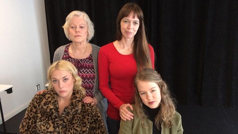 Fyra kvinnor som ska söka filmroller