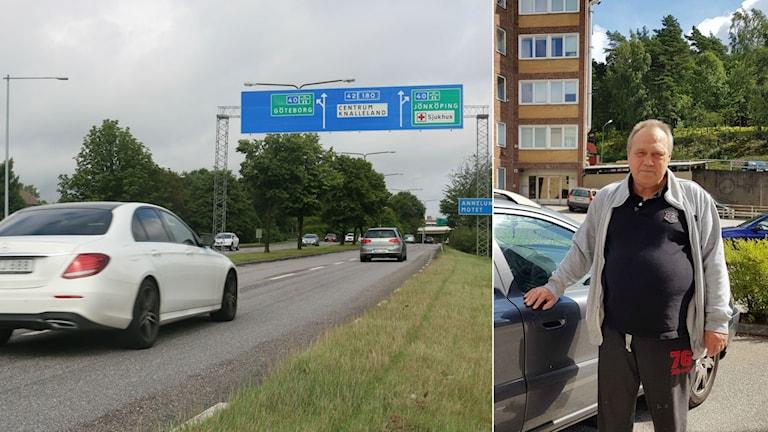 Ett kollage av en bild på trafik och en man som håller på en bil