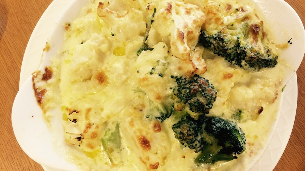 Gratäng med broccoli och blomkål