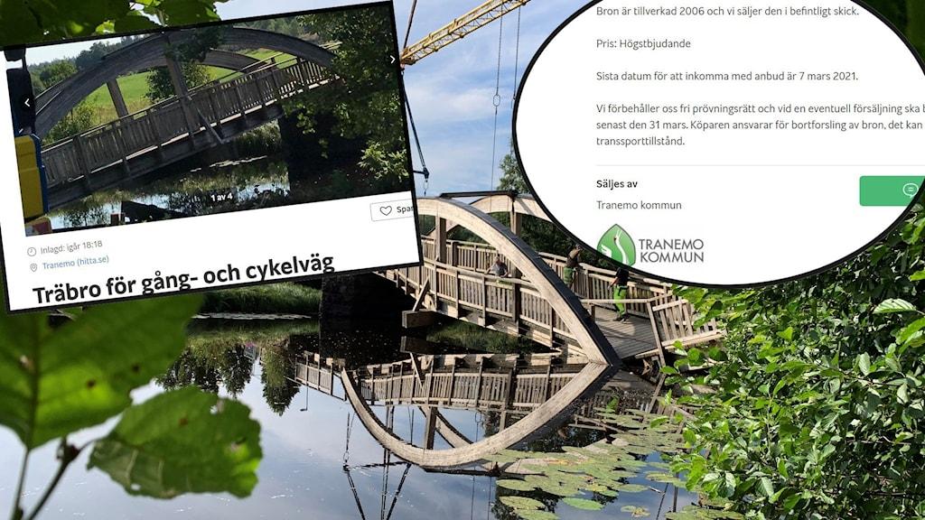 En sommarbild på gång- och cykelbron i Uddebo som rasade. Urklipp från Blocketannonsen.