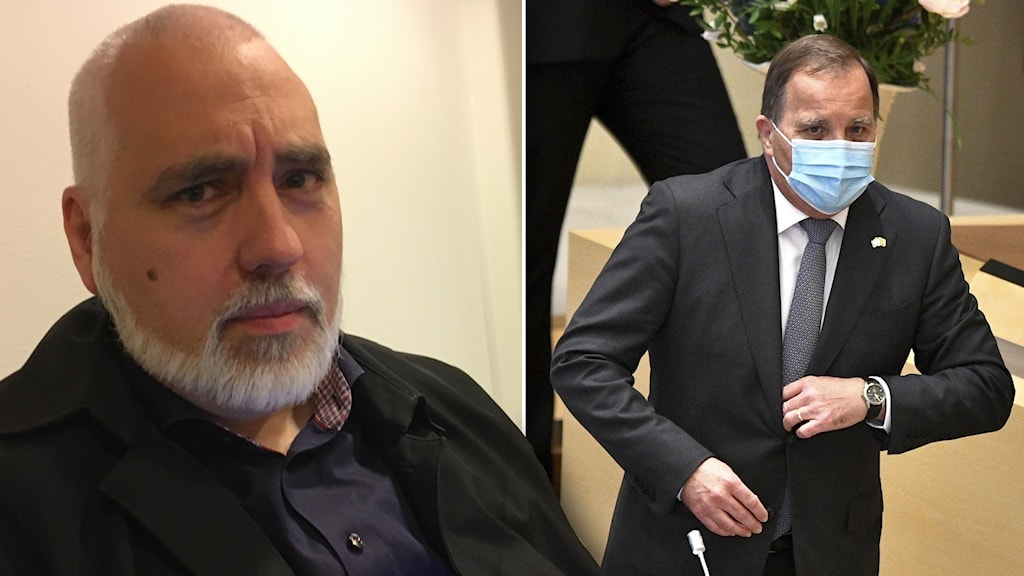 En man med vitt skägg till vänster och statsminister Stefan Löfven till höger bärandes munskydd.