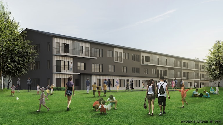 Modellbild av det nya lägenhetshuset.