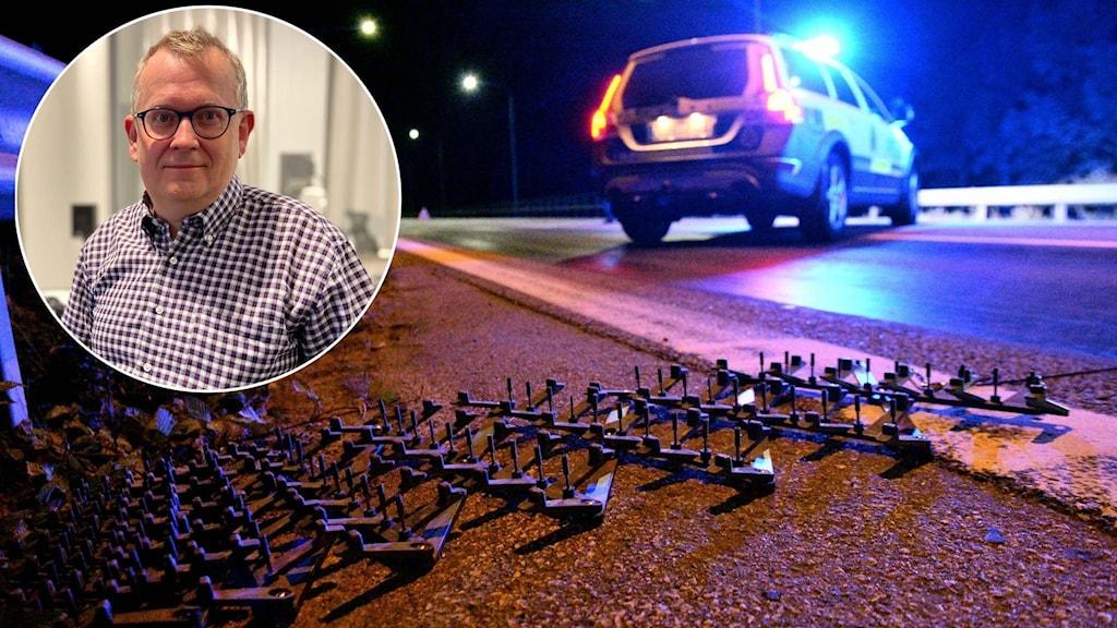 Trafikforskaren Jörgen Lundälv och spikmatta vid poliskontroll.