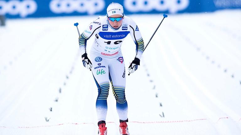 Hanna Falk under världscupsprinten i Otepää.