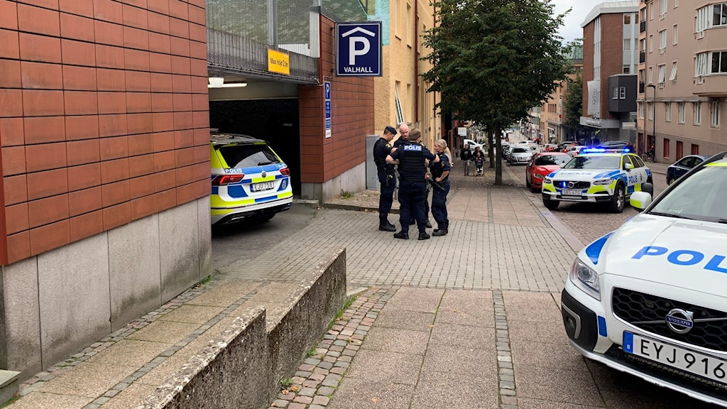 Polisinsats i Borås.
