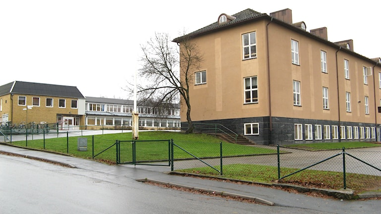 Det brann på Mogaskolan i Svenljunga. Foto: Sveriges Radio.