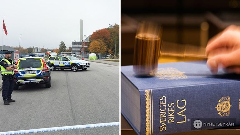 Den avspärrade mordplatsen på Kilsundsgatan i Borås, en lagbok.