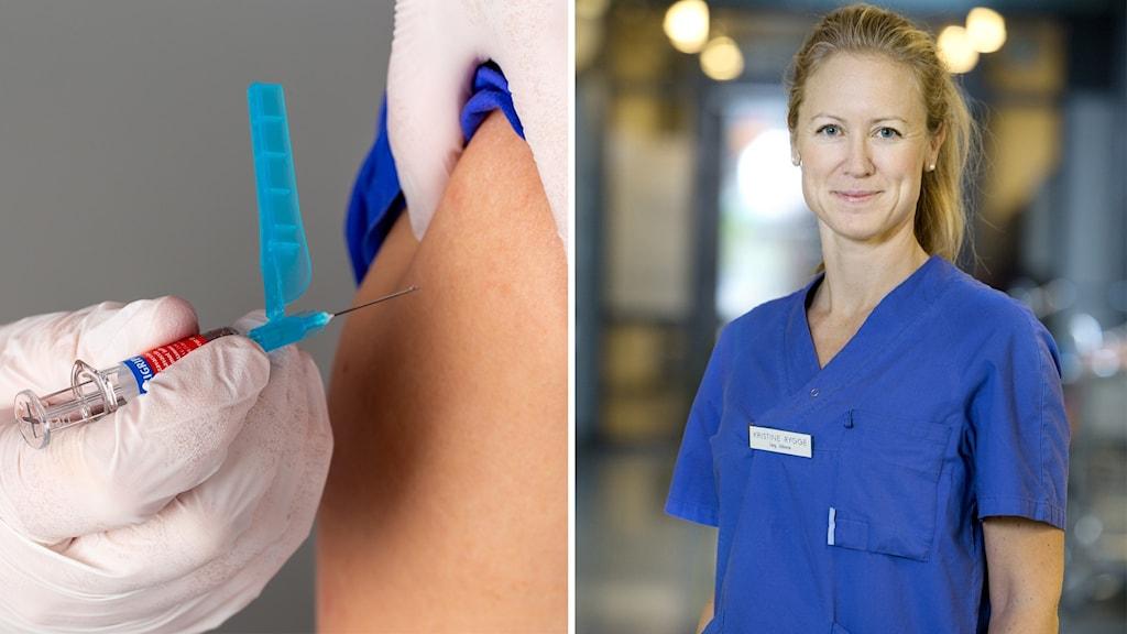 En person blir vaccinerad med en spruta i armen.