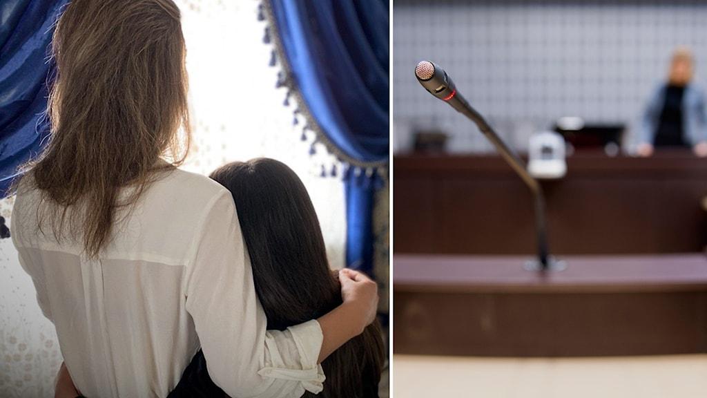 Shirin och hennes dotter står framför ett fönster. Till höger en bild från hovrätten där en mikrofon är centrerad.