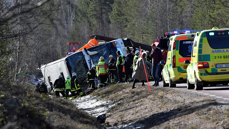 Singelbussolycka på E45 söder om Sveg.