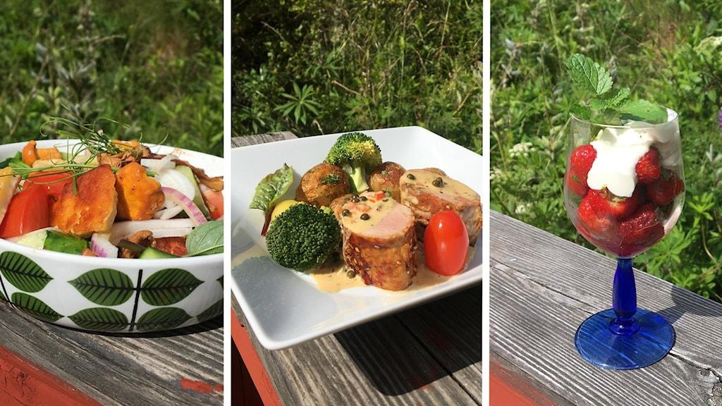 Tre bilder på maten lagad av recepten.