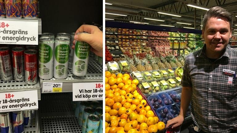 18-årsgräns på energidryck. Energidryck ses i butikshylla och Icahandlaren Karl-Johan Läbom står vid frukten.